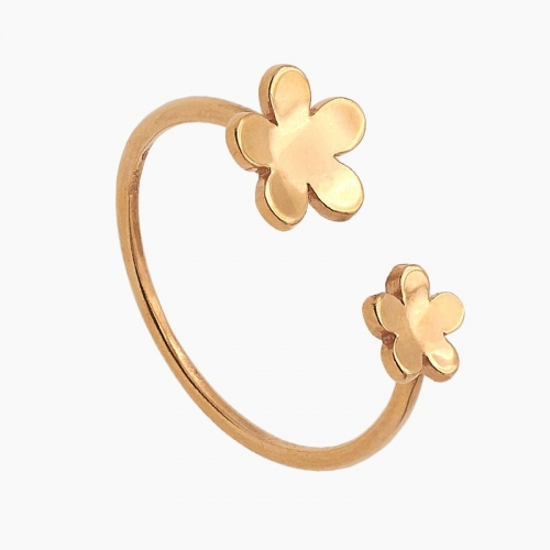 Sortija abierta de flores en oro rosa - 0140 - 1