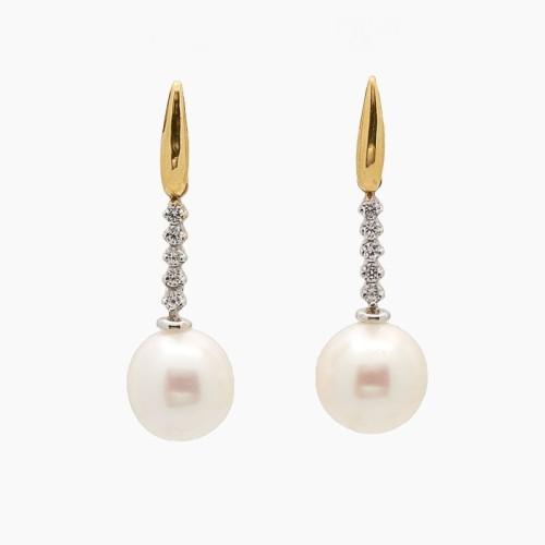 Pendientes largos de oro bicolor, circonitas y perlas - 0530 - 1