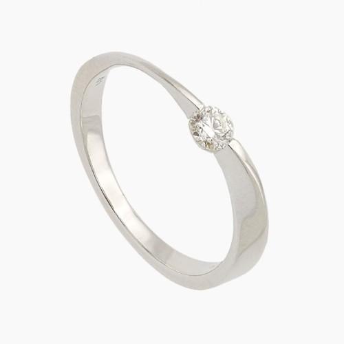 Solitario ondulado de oro y diamantes - 1550 - 1