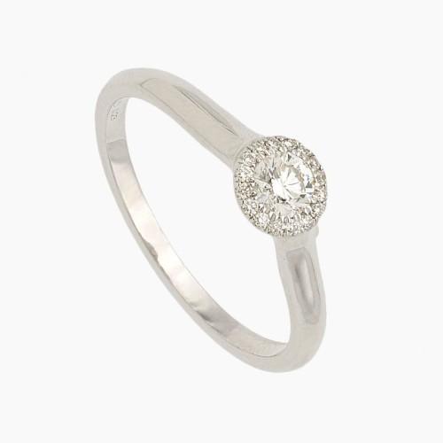 Solitario de oro blanco y diamante con orla - 0B05 - 1