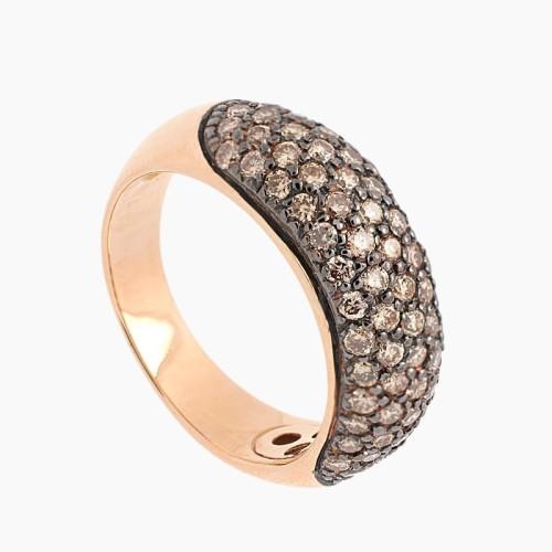 Sortija de oro rosa y diamantes brown - 1