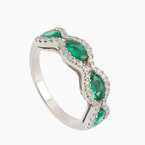 Sortija de oro blanco con esmeraldas y diamantes - 1