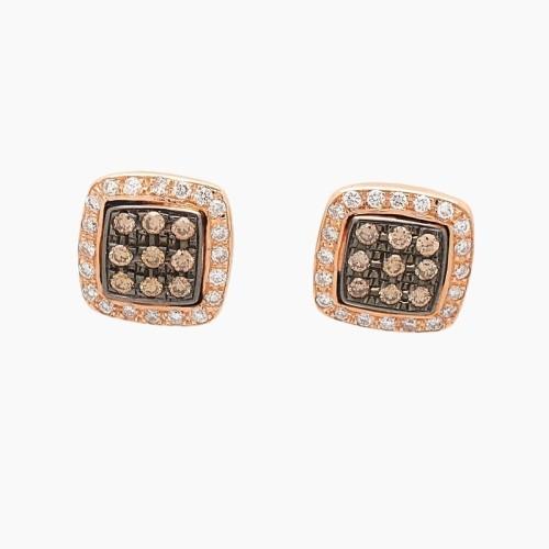 Pendientes en oro rosa y diamantes brown/blancos - 1