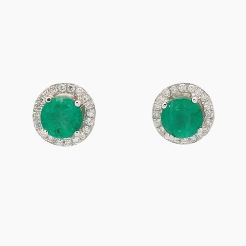 Pendientes en oro blanco, esmeraldas y diamantes - 1