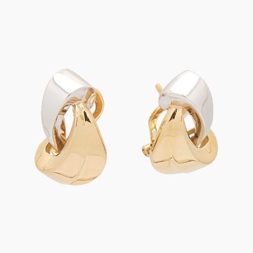 Pendientes de oro bicolor - 1
