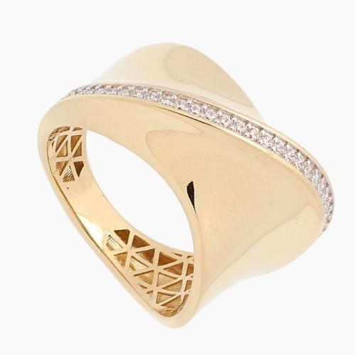 Sortija de oro con banda de circonitas - 1