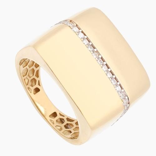 Sortija cuadrada de oro con banda de circonitas - 1