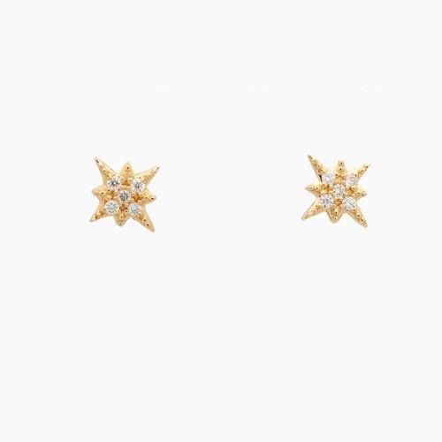 Pendientes estrella de los vientos con diamantes - 1
