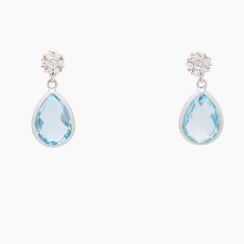Pendientes de oro blanco con diamantes y topacios - 2651 - 1