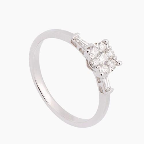 Sortija de oro blanco y diamantes - 3544 - 1