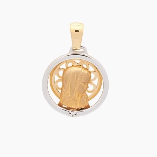 Medalla de la Virgen Niña en oro de 18k con diamante - 1