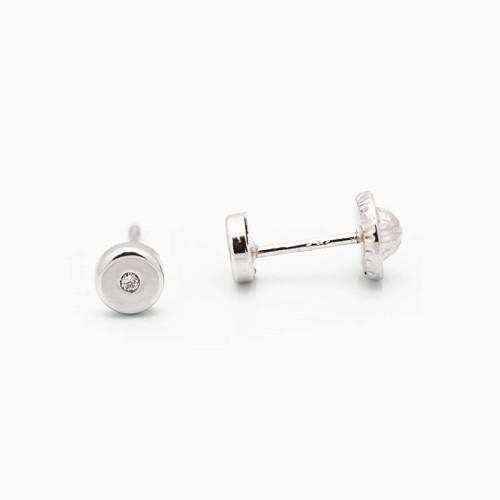 Pendientes de bebé con forma circular y diamantes - 1