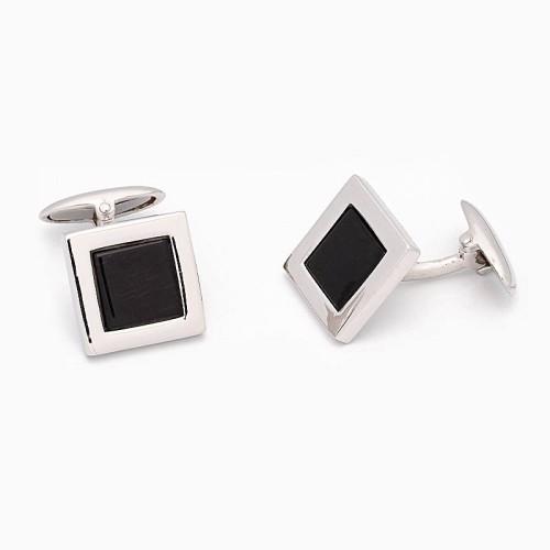 Gemelos rectangulares en plata y ónix - 1