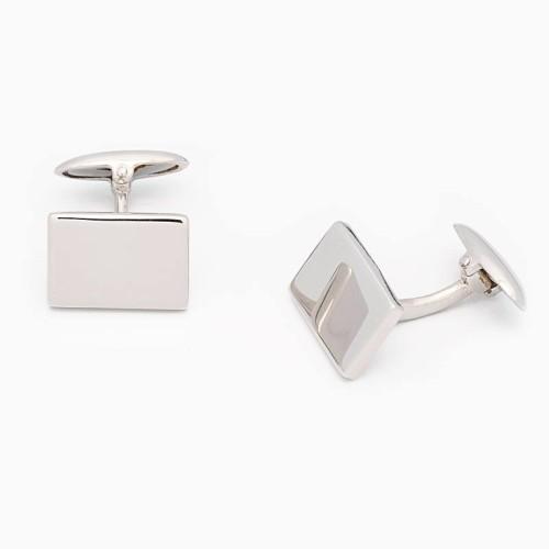 Gemelos de plata lisos de forma rectangular - 1