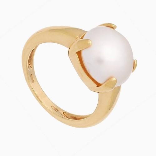Sortija de  oro amarillo con perla japonesa - 1