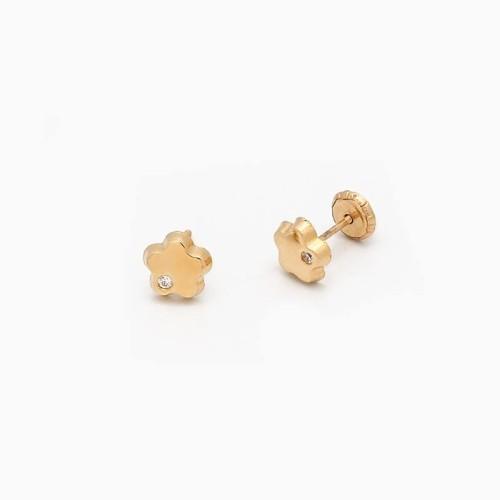 Pendientes de bebé en oro y circonitas en forma de flor - 1