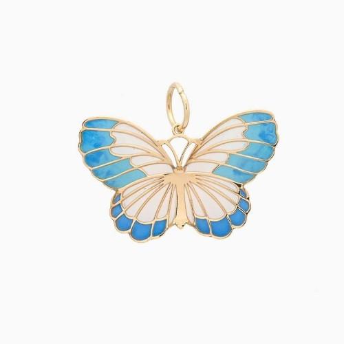 Colgante con forma de mariposa en oro amarillo y esmalte - 1