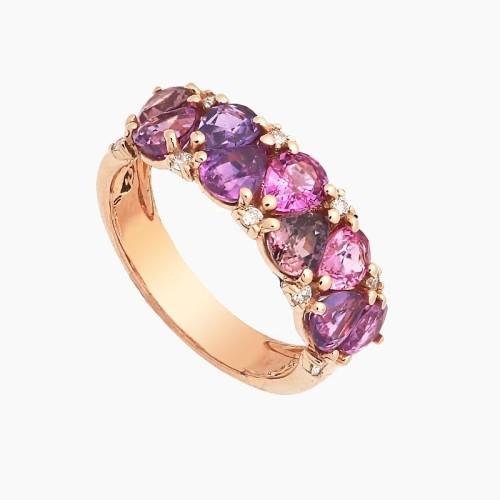 Sortija de oro rosa con zafiros rosas y diamantes - 1