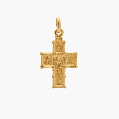 Cruz bizantina grande de oro amarillo - 1