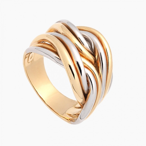 Sortija de oro trenzado bicolor - 1