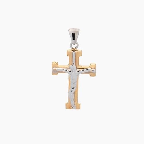 Cruz latina de oro amarillo y blanco - 1