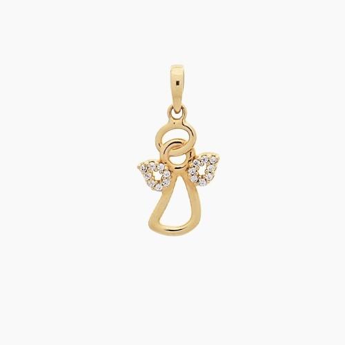 Colgante angelito en oro y circonitas - 1