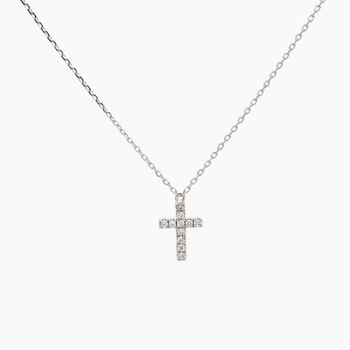 Gargantilla con cruz de oro blanco y diamantes - 1