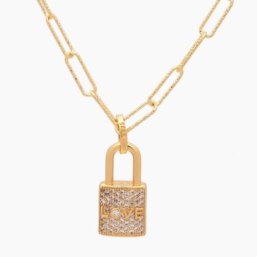 Collar en plata de ley con baño de oro amarillo y circonitas - 1