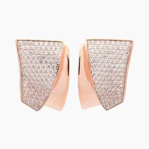Pendientes de plata de ley con baño de oro rosa y circonitas - 1