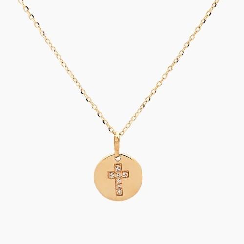 Chapa con cruz y cadena oro de primera ley - 1