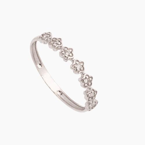 Sortija de oro blanco con forma de flores y diamantes - 1