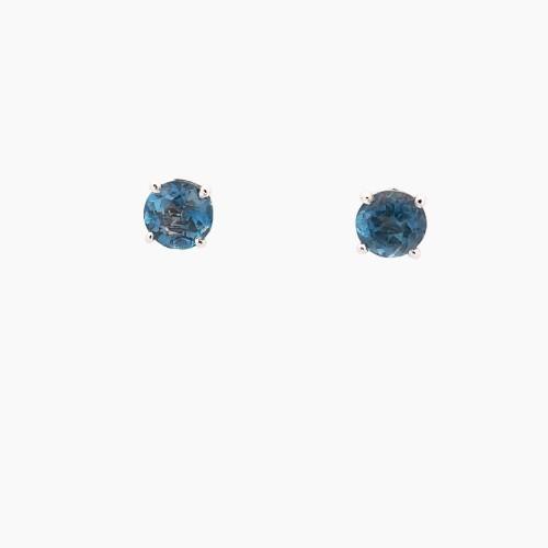 Pendientes oro blanco y topacios London Blue - 1