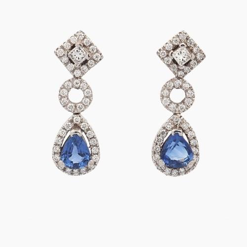 Pendientes oro blanco con zafiros y diamantes - 1