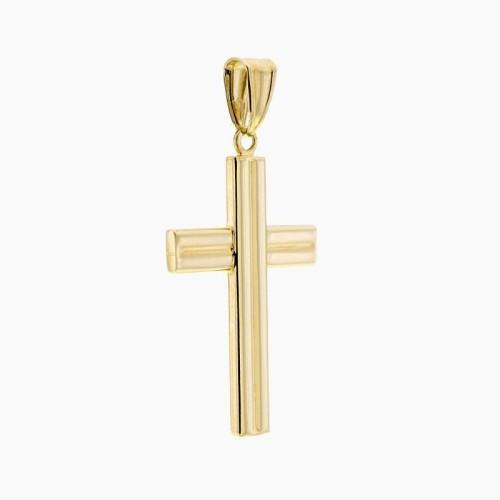 Cruz a rayas de oro en liso y brillo