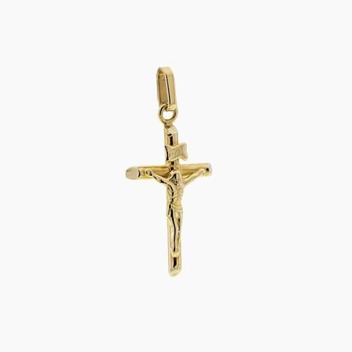 Cruz de oro amarillo y figura de Cristo